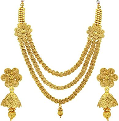 ebcb13e112a572 Buy Meenaz Jewellery Gold Plated Necklace Set Ear Rings for Girls/One Gram Jewellery  Set with Earrings for Women Girls NL172 Online at Low Prices in India ...