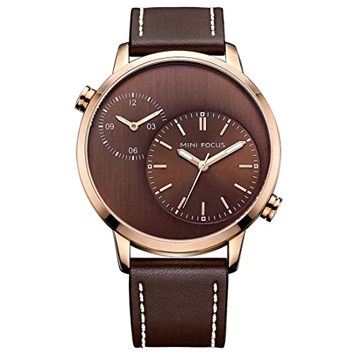 Mini Solid Gold Watch - BOFUTE Men's New Dual Movements Time Zone Luminous Pointer Leather Strap Watch Waterproof Analog Quartz Boys'Wristwatches(Coffee Rose Gold Coffee)