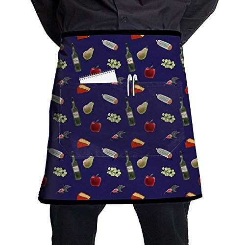 (Jaylon Waist Short Apron Half Chef Apron Beer Pear Apple Cake Cooking Apron With Pockets Home Kitchen Cooking)