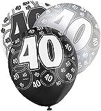 Unique Party - 80895 - Paquet de 6 Ballons en Latex - 40e Anniversaire - 30 cm - Noir/Argent Glitz