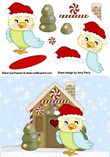 Navidad pájaro amarillo & de Papá Noel gruta por Amy Perry