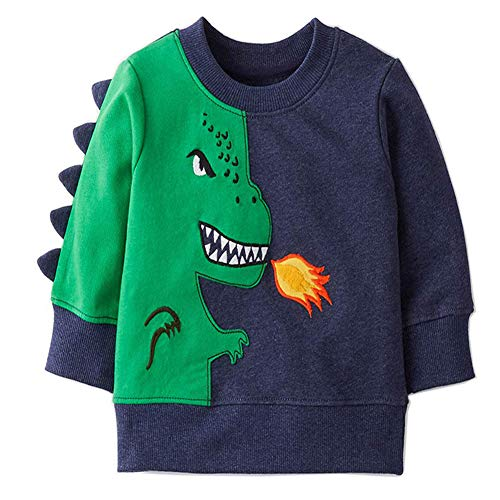 Bleubell Toddler Boys T-Rex Long Sleeve Dinosaur T Shirt 2-7 Years (3T, ()
