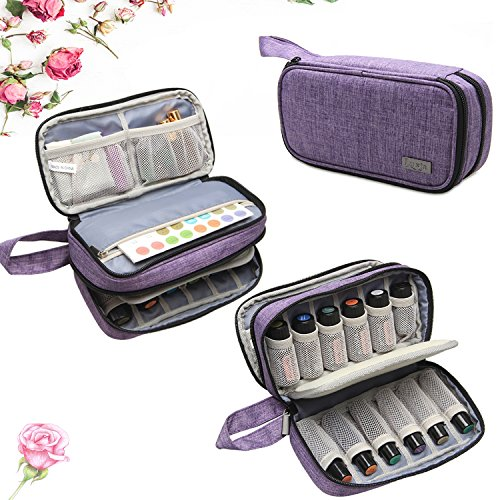 Price comparison product image Luxja Essential Oil Carrying Case - Holds 12 Bottles (5ml-15ml, Including Roller Bottles), Portable Double-Layer Organizer for Essential Oil and Accessories, Purple