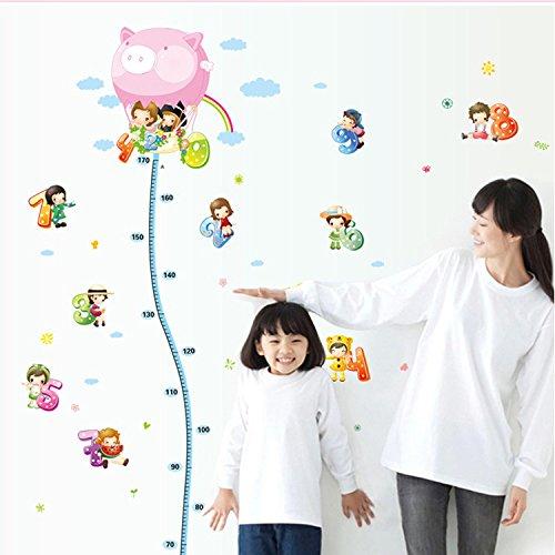 bibitime-pink-pig-hot-ait-balloon-height-chart-wall-sticker-kids-growth-chart-0-9-number-recognition