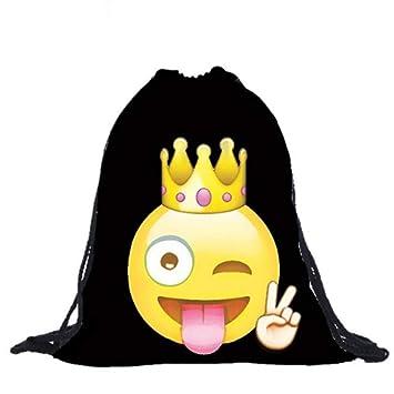 HYXUB Unisex Drawstring Bag Hombre Mujer Emoji Negro ...