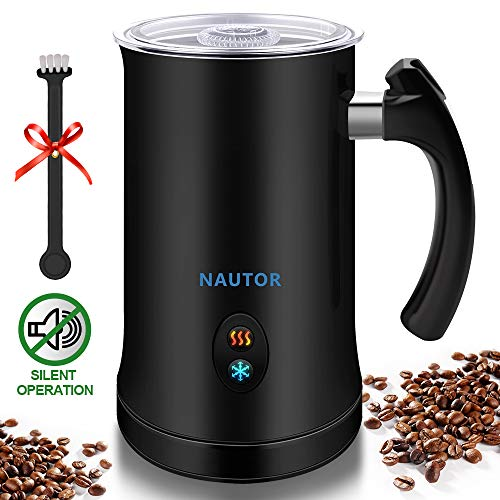 Milk Frother, Nautor Electric Milk Frother with Hot or Cold Functionality, Foam Maker, Black Stainless Steel, Automatic Milk Frother and Warmer for Coffee, Cappuccino and Macchiato