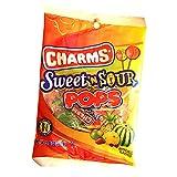 Charms Sweet 'N Sour Pops Lollipops, 3.85 oz Bag