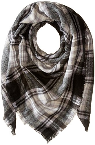Collection XIIX Women's College Plaid Runway Wrap, Black, One Size