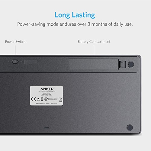 Anker Bluetooth Ultra-Slim Keyboard for iPad Air 2 / Air, iPad mini 3 / mini 2 / mini, iPad 4 / 3 / 2, Galaxy Tabs and Other Mobile Devices (Black) by Anker (Image #3)