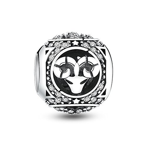 Glamulet Art - Aries Charm -- 925 Sterling Silver -- (Sterling Silver Zodiac Charms)