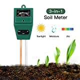Rottay Soil Tester 3-in-1 Plant Moisture Sensor Meter Light PH Soil Test Kit for Garden Lawn Farm Plants Herbs Indoor/Outdoor Plant Care Soil Tester-No Battery Needed