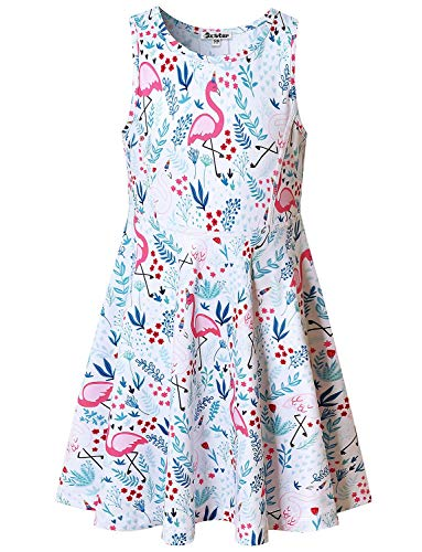 Little Girls Dresses Flamingo Outfits Floral Summer Clothes Birthday Party Gifts]()