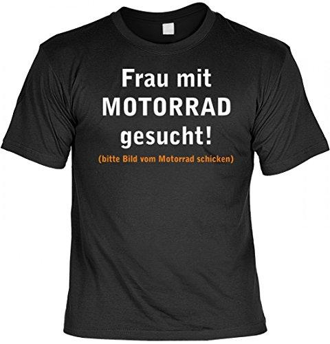 Lustiges T-Shirt für Biker - Frau mit Motorrad gesucht, bitte Bild vom Motorrad schicken - mit Urkunde für - Schwarz