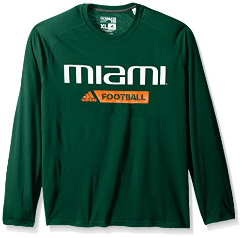 NCAA Miami Hurricanes Adult Men Sideline Gridiron Ultimate L/S Tee, Large, Dark Green