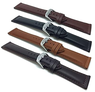 18mm to 30mm, Genuine Leather Watch Band Strap, Mat Finish, Tone-on-Tone Stitching, Comes in Black, Brown, Tan and Light Brown