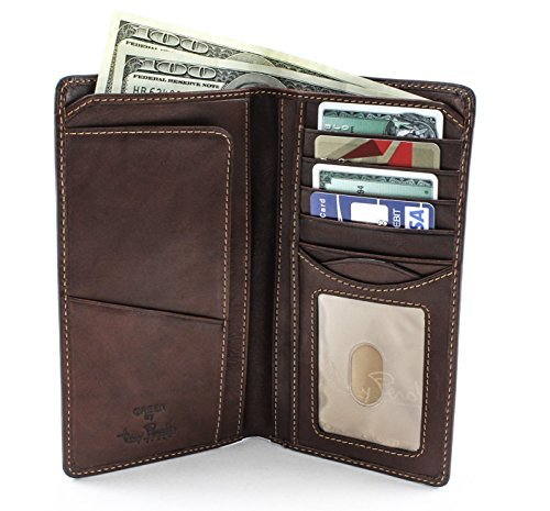 Italian Leather Checkbook Wallet - CUSTOM PERSONALIZED INITIALS ENGRAVING Tony Perotti Mens Italian Cow Leather Bifold Combination Checkbook Wallet with ID Window in Brown