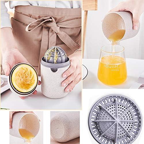 Meiyijia Spremiagrumi Manuale con Filtro Beige Prodotta con Paglia di Grano Biodegradabile Spremiagrumi a Mano per Arance Limoni Senza BPA Agrumi