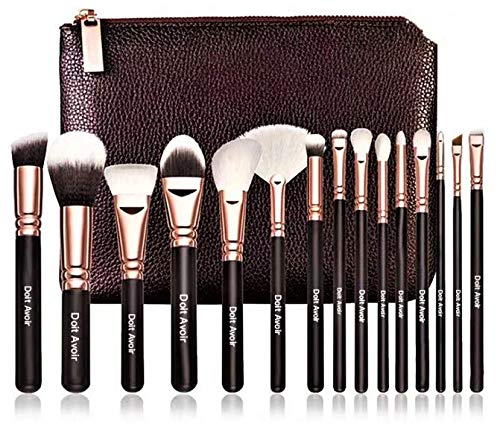Doit Avoir 15 pcs Makeup Brush Sets - Natural Wood Handle, Fiber wool + Goat Hair, Makeup brushes(Gold)) (Makeup Brushes Goat Hair)