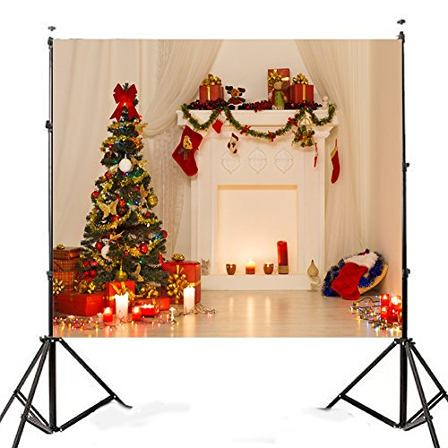 angel3292 Pro Xmas Christmas Tree Fireplace Vinyl Studio Photography Backdrop Background]()