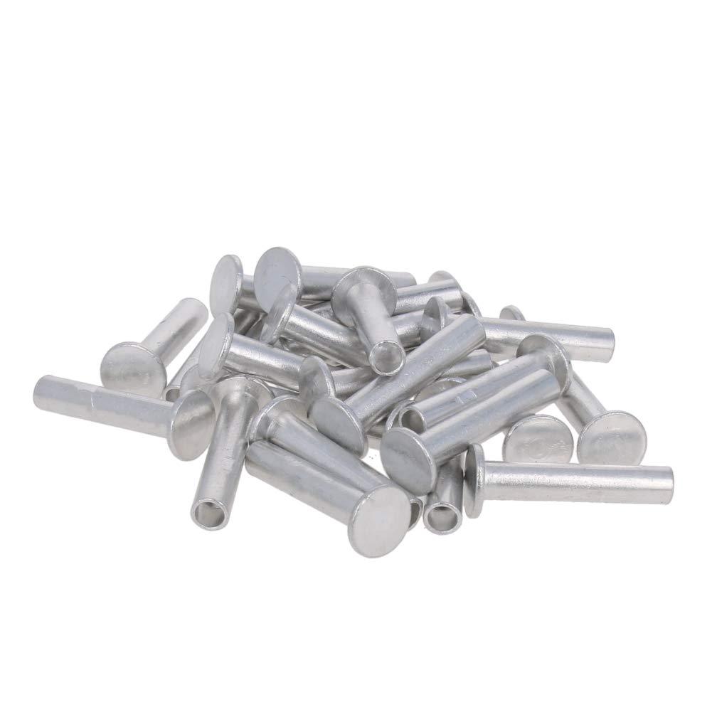MroMax Solid Silver Rivet 200pcs 4mm x 12mm(DL)Flat Head Rivets Countersunk Solid Rivets Bolts Flat Head Solid Rivet