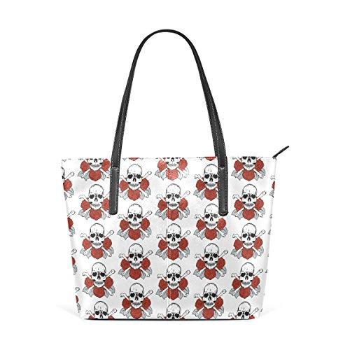 COOSUN Schädel und Rosen Muster PU Leder Schultertasche Handtasche und Handtaschen Tasche für Frauen
