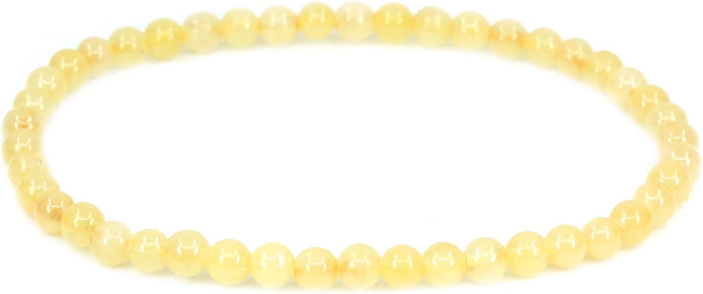 CHENYUE Pulsera elástica hecha a mano con gemas semipreciosas de 4 mm, cuentas redondas de 17,8 cm, unisex
