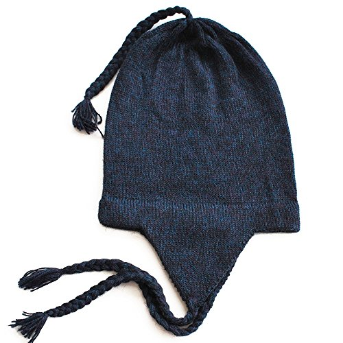 The Alpaca Collection, 100% Alpaca Wool Knit Chullo Beanie Hat Women Men Blue One Size