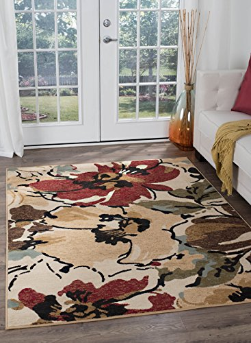 (Cali Contemporary Floral Beige Rectangle Area Rug, 7.6' x 10' )