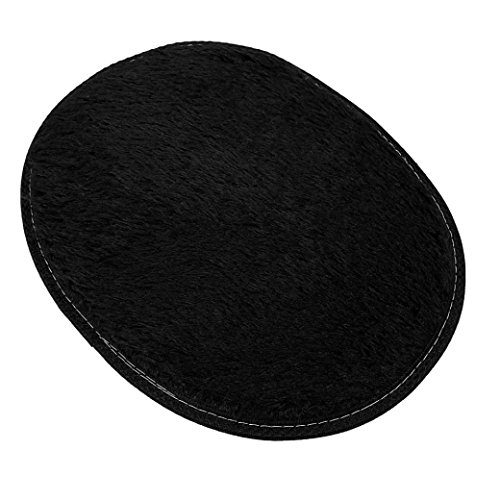 Price comparison product image GBSELL 3040cm Elliptical Anti-Skid Fluffy Rug Home Bedroom Bathroom Floor Door Warm Mat (Black)