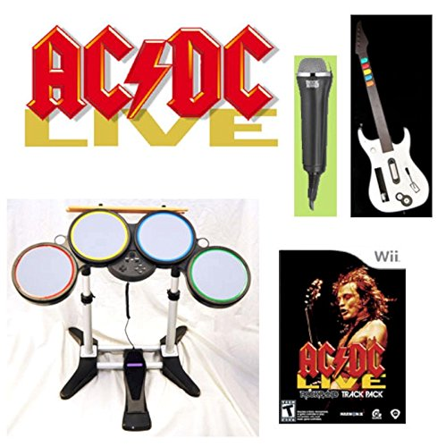 AC/DC Nintendo Wii-U/Wii Rock Band ACDC Game Set w/drums, guitar, mic - Guitar Mic Drums