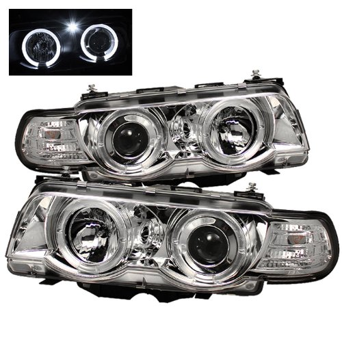 Spyder Auto PRO-YD-BMWE3899-HID-HL-C BMW E38 7-Series Chrome/Amber HID Type Halo Projector Headlight