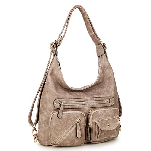 Dasein Classic Convertible Backpacks Soft Washed Leather Hobo Shoulder Bag Purse w/ Multi Pockets (Hobo Leather Washed)