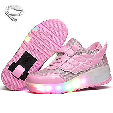 Ehauuo Unisex Wheel Shoes Kids Light up Roller Skate Shoes Girls USB Charge Roller Shoes Boys Flashing Sneakers for Gift Pink Size: 1 Little Kid