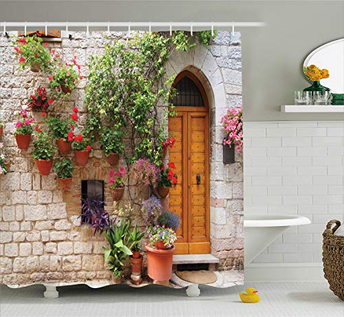 (Ambesonne Tuscan Decor Collection, Begonia Blooming in Box and Wooden Shutters on Brick Wall in Italy Picture, Polyester Fabric Bathroom Shower Curtain Set with Hooks, Red Purple Ivory )