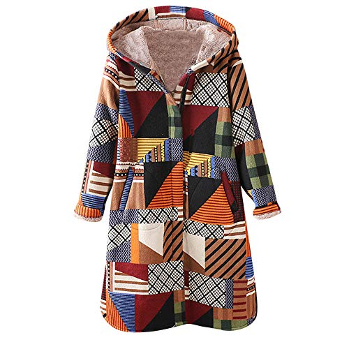 XOWRTE Womens Coat Winter Warm Floral Print Vintage Oversize Hooded Pockets Jacket Overcoat Outwear -
