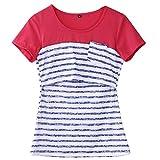 Women Breastfeeding Shirt Striped Patchwork Short Sleeve Maternity Breastfeeding and Nursing Tops (M, Blue)