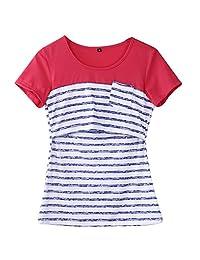 Women Breastfeeding Tops Maternity Nursing Striped Patchwork Shirts