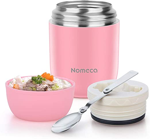 Vacuum Insulated Stainless Steel Food Jar with Folding Spoon Thermos 16 oz