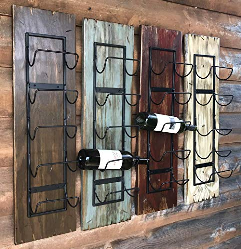 WINE RACK Wall Mounted - Rustic Distressed Wood - Vertical 5 Bottle Holder - Antique Barn Red, Off-White Cream, Brown (Wine Bottles not included) Winerack