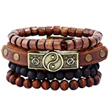 ywbtuechars NecklaceRetro Men Braided Handmade Faux Leather Alloy Bracelet Letters Wristband Jewelry