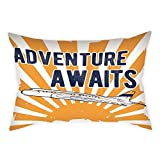 iPrint Polyester Throw Pillow Cushion Cover,Adventure,Commercial Airplane with Rising Sun Adventure Quote Aviation Journey Print Decorative,Navy Blue Orange,Decorative Square Accent Pillow Case