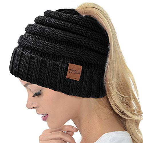ZOORON Ponytail Beanie Hat for Women, High Messy Warm Stretch Cable Knit Winter Ponytail Beanie Skull Cap Black