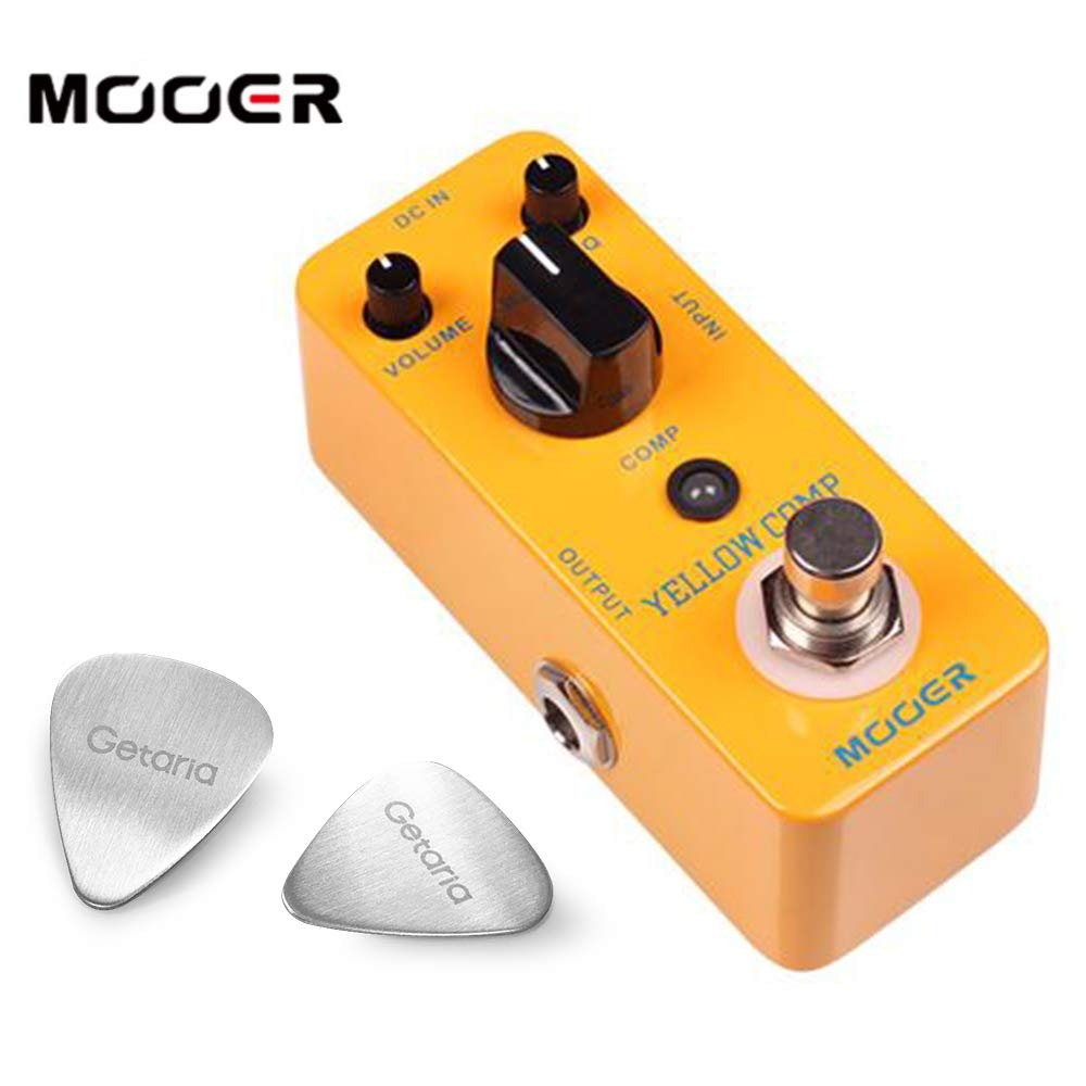 Mooer MCS2 Yellow Compression Effects Pedal With 2 Getaria Guitar Picks
