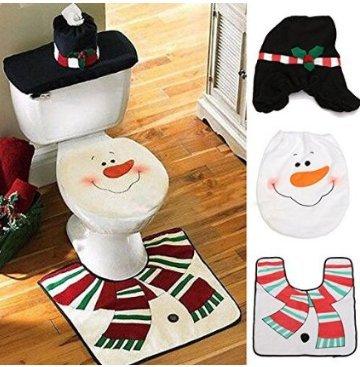 Set di 1pupazzo di neve copriwater copertura tappetino scatola del tessuto bagno Set decorazione di Natale Decor Fendii