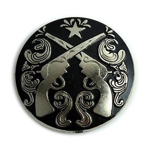 (Western Crossed Pistols Conchos with an Antique Nickel and Black Enamel Finish.)