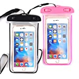 "[2 PACK] Universal Waterproof Case, NOKEA Dry Bag for Apple iPhone 7, 6S, 6, 6S Plus, SE 5S 5C, Galaxy S7 Edge, S7, S6, S5, S4, Note 5 4, HTC LG G5, G4, Sony Nokia Motorola up to 6.0"" diagonal"
