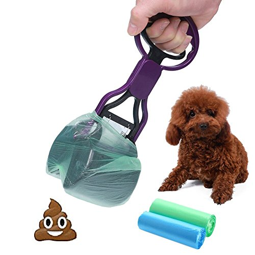 CINOTON Pet Waste Shovels Cleaning Tool Handle Grabber Pick up Jaw Pooper Scooper for Dog and Cats (Purple)
