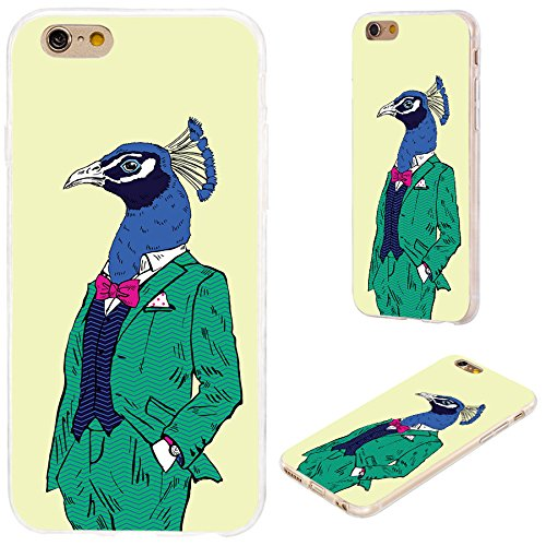 [iPhone 6s Case,iPhone 6 Case,VoMotec [Cute series]Shockproof Anti-scratch Slim Flexible Soft TPU Protective Skin Cover Case For iPhone 6 6s 4.7 inch,fashion peacock in green dress on yellow] (Guys Fancy Dress)