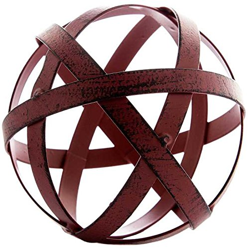 Small Red Metal Band Decorative Sphere
