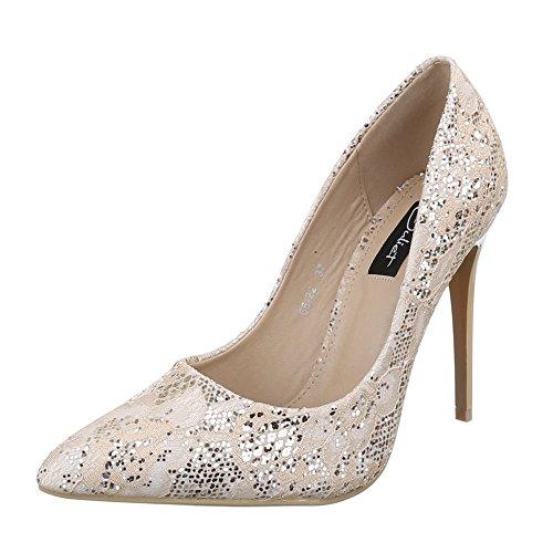 Ital-Design Damen Schuhe 66-22 Pumps High Heels Glitter